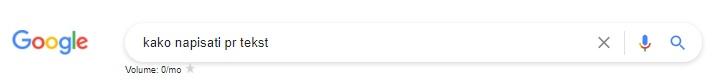 Google volumen pretrage