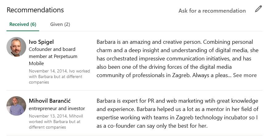 recenzije na Linkedin profilu