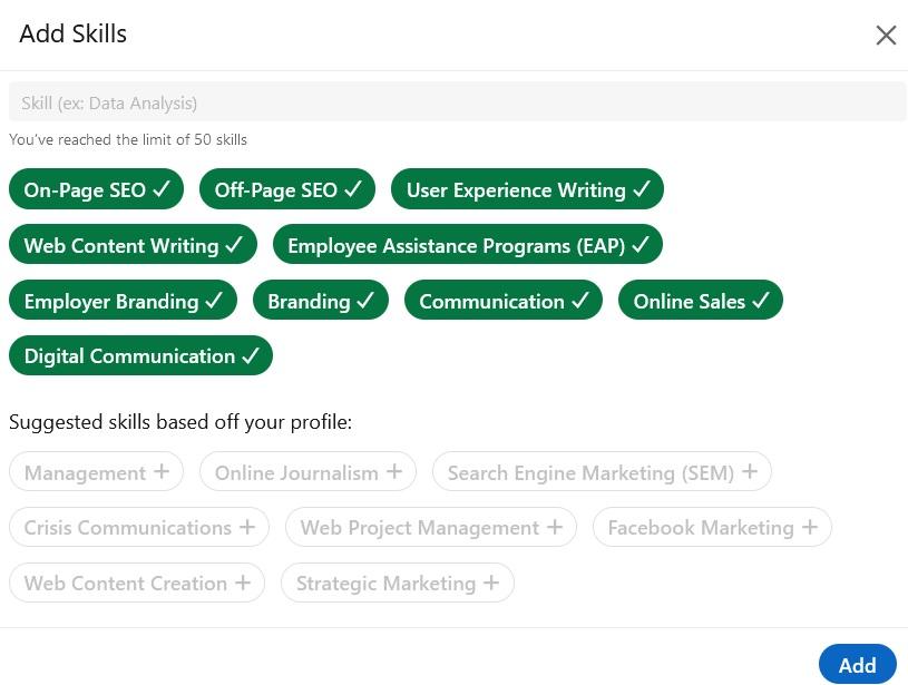 Linkedin profil- vještine