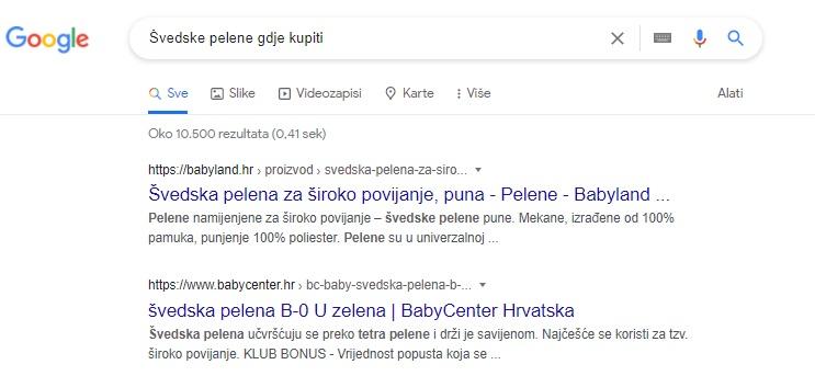 Što je search intent kod ove pretrage