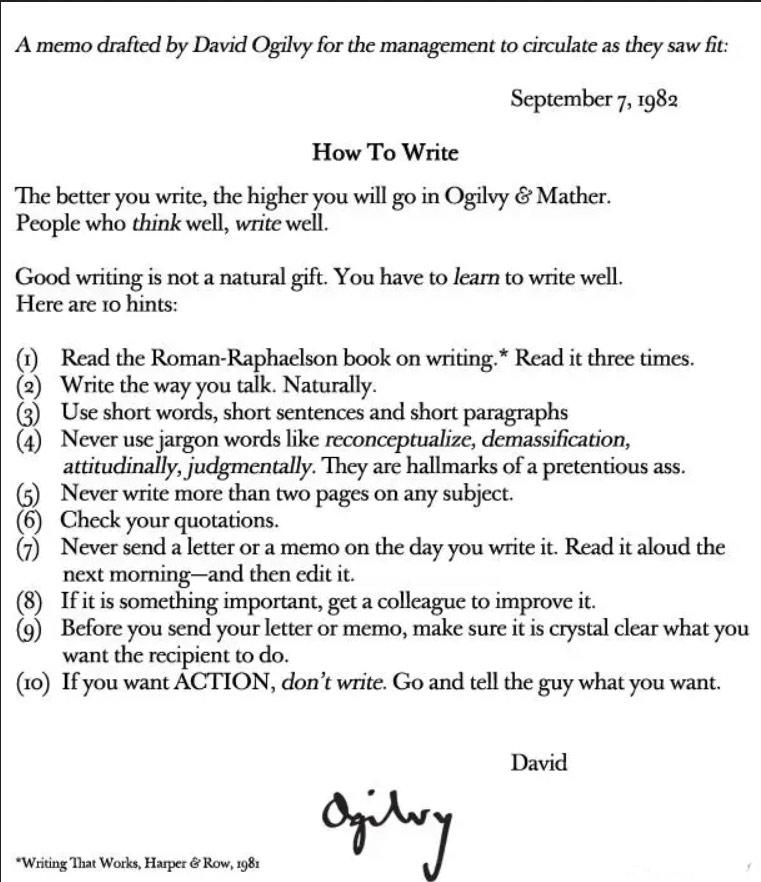 kako pisati by David Ogilvy 1982. godine